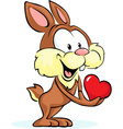 cute bunny hold heart vector image vector image