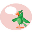 cute green parrot with speech bubble cartoon vector image vector image