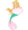 Cute Mermaid holding sign vector image vector image