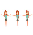 cute woman shows hands and smiling standing in vector image vector image