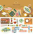 Dining table with dishes vector image vector image