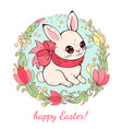 easter card white easter bunny with flower vector image