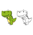 educational coloring book-dinosaur vector image