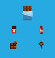 flat icon chocolate set of cocoa sweet delicious vector image vector image