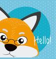 fox cute animal cartoon card vector image