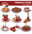 french cuisine food dishes for restaurant menu vector image vector image