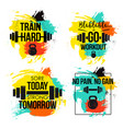 gym and fitness motivation quote set vector image vector image