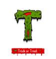 halloween green color comic horror zombie font vector image vector image