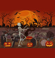halloween skeleton walking near the vector image