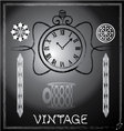 hand drawn vintage watch and floral vector image vector image