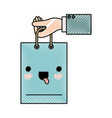 hand holding a kawaii shopping bag in colored vector image vector image