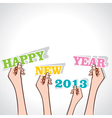 happy new year 2013 in hand vector image vector image