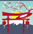 mount fuji sun japanese gate sakura background vec vector image