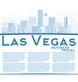 outline las vegas skyline with blue buildings vector image vector image
