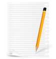 pencil and note sheet vector image vector image
