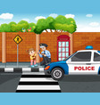 policeman and lost girl in city vector image vector image