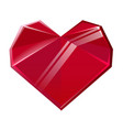 polygonal red crystal heart isolated on white vector image