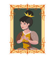 portrait of a princess in a frame vector image