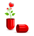 red love drug pill vector image vector image