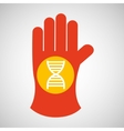 sciencie glove and dna structure icon vector image vector image