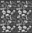 seamless fashion sketch hand drawn pattern with vector image