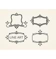 set floral monogram frames line art elements vector image
