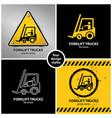 set forklift truck warning symbols vector image