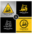 Set of forklift truck warning symbols