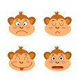 set with monkey emotion faces cute little vector image vector image