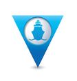 ship icon map pointer blue vector image vector image