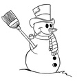 simple black and white snowman vector image