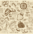 sketched breakfast seamless background vector image