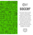 soccer banner design concept with thin vector image vector image