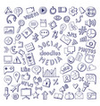 social media hand drawn icons set computer and vector image vector image