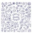 social media hand drawn icons set computer vector image