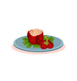stuffed baked pepper on a plate bulgarian cuisine vector image