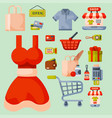 Supermarket grocery shopping retro cartoon icons