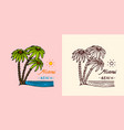 tropical green palm emblem surfing sign summer vector image