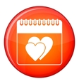 Wedding date day on calendar icon flat style vector image