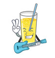 with guitar lemonade mascot cartoon style vector image vector image