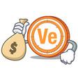 with money bag veritaseum coin character cartoon vector image vector image
