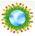 earth with tulips vector image