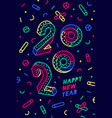 2020 happy new year greeting card happy new year vector image vector image