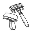 animal grooming hair brushes monochrome vector image