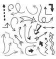 arrows big set - hand drawn arrows isolated on vector image vector image