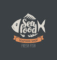 banner for seafood shop with decorative fish vector image vector image