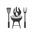 barbecue fire spatula logo template badge design vector image vector image