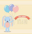 blue rabbit holding balloons baby shower boy card vector image