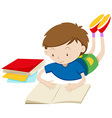 Boy reading book alone vector image vector image