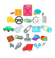 car mending icons set cartoon style vector image vector image